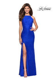 La Femme 27046.  A fun floor length stretch lace gown with scattered rhinestones. Dress is made complete with a high neckline, side slit, and criss cross strappy back. Back zipper closure. Available in: White, Electric Blue, Red.