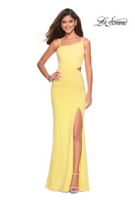 La Femme 27126.  Turn heads at prom with this unique and trendy long jersey prom dress. This asymmetrical silhouette features double straps and a left side cut out. A side leg slit and open strappy back complete this look. Back zipper closure. Available in: Black, Red, Royal Blue, White, Yellow.