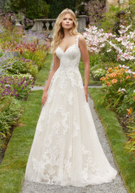"""Mori Lee 2020.  Frosted, Alenon Lace and Medallion Style Appliqus on a Soft Tulle Ballgown with Appliqud Straps. Available in Three Lengths: 55"""", 58"""", 61"""". Also available in Sizes 16W-32W as Style 2020W. Available in: White, Ivory, Ivory/Champagne. Shown in Ivory/Champagne."""