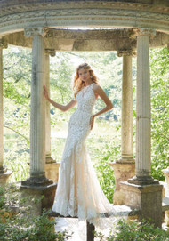 """Mori Lee 2042.  Crystal Beaded, Embroidered Appliqus with Cross-Stitch Detail on a Soft Tulle Mermaid with Wide Scalloped Hemline and Long, Sheer Train. Available in Three Lengths: 55"""", 58"""", 61"""". Detachable, Reversible Satin Front Bodice Lining Included in Matching Color and Nude. Available in: White, Ivory, Ivory/Nude. Shown in Ivory/Nude."""