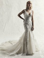 Sottero and Midgley Judson.  A striking fusion of glamour and sophistication, this fit-and-flare wedding dress features swirls of embroidered lace motifs, Swarovski crystals, and vintage-inspired beading over tulle. Sheer straps complete the V-neckline and sexy V-back, all accented in beaded embroidery. Finished with crystal buttons over zipper closure. Avvailable in: Ivory/Pewter Accent, Ivory over Stone/Pewter Accent, shown.