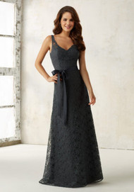 Mori Lee 21516.  Sophisticated Lace Bridesmaids Dress Featuring a Deep V Neckline and Back. A Matching Satin Tie Sash Accentuated the Natural Waist. Zipper Back. Shown in Charcoal. Available in all Solid Lace Chiffon Colors.