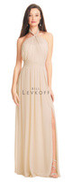 Bill Levkoff 1502.  Chiffon gown with twist front halter straps. Ruched band at the natural waist. A-line skirt with pleats and side slit. Available in all Bill Levkoff Chiffon Colors, shown in Champagne.