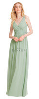 Bill Levkoff 1553.  Chiffon V-neck sleeveless gown with surplus top and U-back. Ruched band at the natural waist. Soft gathers surround the A-line skirt. Available in all Bill Levkoff Chiffon Colors, shown in Pistachio.