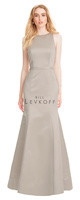 Bill Levkoff 1559.  European Satin sleeveless scoop neck gown with a low V-back and self band at the waist with a back bow accent. Slight A-line skirt. Available in all Bill Levkoff European Satin Colors, shown in Euro Champagne.