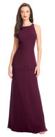 Bill Levkoff 1563.  Chiffon sleeveless scoop neck gown. Thin self band accents the dropped waist. Wide keyhole open back. Slight A-line skirt. Available in all Bill Levkoff Colors, shown in Wine.