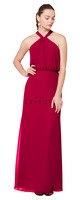 Bill Levkoff 1607.  Chiffon halter gown with a blouson bodice and keyhole back. A-line skirt. Available in all Bill Levkoff Chiffon Colors, shown in Cranberry.