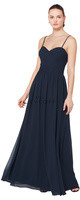 Bill Levkoff 1609.  Chiffon sweetheart spaghetti strap gown. Criss-cross ruching adorns the bodice. Corded lace insert accents the front and back of the bodice. Soft gathers surround the A-line skirt. Available in all Bill Levkoff Corded Lace Colors, shown in Navy.
