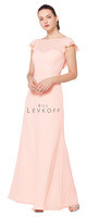 Bill Levkoff 1611.  Chiffon gown with a bateau neckline. Ilussion top over a sweetheart neckline. Chiffon and lace flutter cap sleeves. V-back with ruffle chiffon and lace trim. A-line skirt. Available in all Bill Levkoff Corded Lace Colors, shown in Petal Pink.