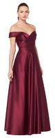 Bill Levkoff 1613.  European Satin off-the-shoulder gown with a portrait neckline. Asymmetrical pleats adorn the bodice. Available in all Bill Levkoff European Satin Colors, shown in Euro Wine.