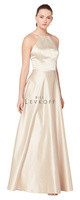 Bill Levkoff 1614.  European Satin gown, square neckline with spaghetti straps forming V in the back. Self-band at the waist. A-line skirt. Available in all Bill Levkoff European Satin Colors, shown in Euro Champagne.