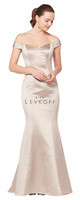 Bill Levkoff 1616.  European Satin off-the-shoulder portrait neckline gown with princess seams. Beaded band at the dropped waist. Mermaid style skirt. Available in all Bill Levkoff European Satin Colors, shown in Euro Champagne.