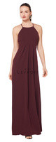 Bill Levkoff 1617.  Stretch Crepe spaghetti strap gown with a keyhole back. Empire waist with soft front gathers. Available in all Bill Levkoff Stretch Crepe Colors, shown in Wine.