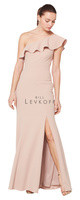 Bill Levkoff 1620.  Stretch Crepe one shoulder ruffle trim gown. Off-center front slit. Available in all Bill Levkoff Stretch Crepe Colors, shown in Nude.