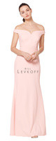 Bill Levkoff 1621.  Stretch Crepe off-the-shoulder portrait neckline gown. Soft mermaid style skirt. Available in all Bill Levkoff Stretch Crepe Colors, shown in Ballet.