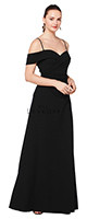 Bill Levkoff 1622.  Stretch Crepe off-the-shoulder portrait neckline gown with spaghetti straps. Soft criss cross gathers. A-line skirt. Available in all Bill Levkoff Stretch Crepe Colors, shown in Black.