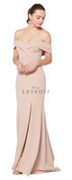 Bill Levkoff 1623.  Stretch Crepe off the shoulder fold-over portrait neckline gown. Off-center front slit. Slight back train. Available in all Bill Levkoff Stretch Crepe Colors, shown in Nude.