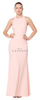 Bill Levkoff 1624.  Stretch Crepe sleeveless gown with a jewel neckline. Criss cross back straps. Available in all Bill Levkoff Stretch Crepe Colors, shown in Ballet.