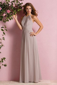 "Belsoie 173057.  A beautiful Poly Chiffon bridesmaid dress that makes a wonderful addition to any bridal party. The dress features a high a halter neckline, keyhole back opening, and A-line skirt. Please refer to all colors for Poly Chiffon. Available in floor, tea(30"") or knee(25"") length."
