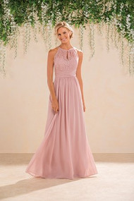 659bf5f60c4 Long High-Neck Lace   Poly Chiffon Bridesmaid Dress. Please refer