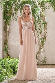 "Belsoie 193005.  Poly chiffon dress in peach with a rose gold sequin bodice. Sweetheart neckline with ruching at the top of the skirt along. Thick, sequin straps that connect and extend to the back, hanging seperately from the dress in scoop. The perfect color and fabric. Please refer to all colors for Sequin II. Skirt color: Please refer to all colors for Poly Chiffon. Available in floor, tea(30"") or knee(25"") length."