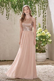"Belsoie 193007.  Poly chiffon peach dress with a rose gold sequin bodice. This two-tone dress comes with a high neckline for an elegantly glamour look. Please refer to all colors for Sequin II. Skirt color: Please refer to all colors for Poly Chiffon. Available in floor and tea (30"") length."