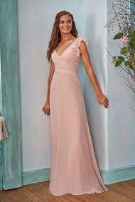 "Belsoie 203002.  Simple poly chiffon bridesmaid dress with a flattering v-neckline and detailed ruching on the bodice. Beautifully ruffled fabric around the armhole that extends to the back of the dress. Please refer to all colors for Poly Chiffon. Available in floor, tea(30"") or knee(25"") length."