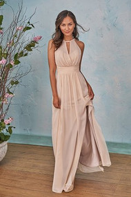 "Belsoie 203004.  Beatiful poly chiffon bridesmaid dress with detailed ruching on the bodice and skirt. A flattering halter neckline with a keyhole front and V straps on the back. This bridesmaid dress has a front side slit that completes the look. Please refer to all colors for Poly Chiffon. Available in floor, tea (30""), and knee (25"") length."
