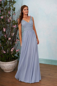"""Belsoise 203008.  Lovely A-line bridesmaid dress with a flattering v-neckline and v back. Pretty lace bodice and poly chiffon skirt with detailed ruching. Please refer to available lace colors for Poly Chiffon. Available in floor,  tea(30"""") or knee(25"""") length."""
