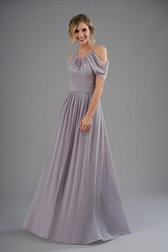 """Belsoie 203056.  Beautiful poly chiffon bridesmaid dress with a halter neckline and beautifully ruched fabric that sits below the shoulders. Detailed ruching on the bodice and skirt to complete the look. Please refer to all colors for Poly Chiffon. Available in floor, tea(30"""") or knee(25"""") length."""