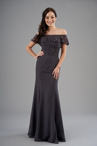 Belsoie 203057.  Pretty off-the-shoulder bridesmaid dress with a lace bodice and poly chiffon skirt. Sophisticated dress with a flattering fit and flare silhouette to complete the look. Please refer to available lace colors for Poly Chiffon. Available in floor length.