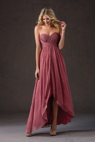 Belsoie 184052.  Simple chiffon bridesmaid dress with pleated sweetheart neckline, and high-low layered chiffon skirt. Please refer to all colors for Belsoie Tiffany Chiffon. Available in high-low only.