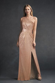 "Belsoie 194062.  One-shoulder, fit and flare dress with a sexy side slit in sequin fabric. Featured in the gold color to complete the old, Hollywood glam look. Available in floor and tea (30"") length. Please refer to all colors for Sequin."