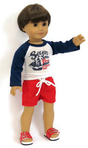 Boy Rash Guard Shirt & Red Swim Trunks