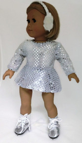 Sequin Skating Dress & Earmuffs-Silver