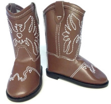 Cowboy Boots-Brown with Embroidered Eagle Accent