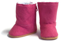 Suede Fur Lined Boots-Dark Pink