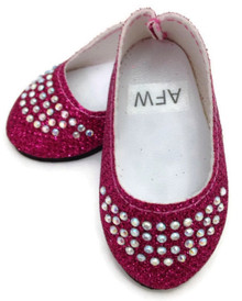 Glitter Flats with Rhinestones-Pink