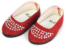 Glitter Flats with Rhinestones-Red