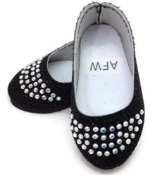 Glitter Flats with Rhinestones-Black