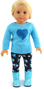 Blue Top with Heart, Black Flowered Leggings and Sequined Boots