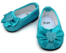 Glitter Dress Shoes with Bow & Heart Accent-Teal