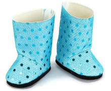 Sequined Boots-Teal