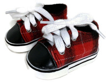 Red & Black Plaid Sneaker Shoes