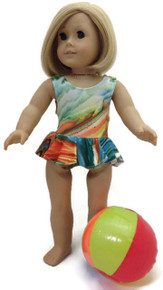 Ruffled Swimsuit & Beach Ball-Green/Orange Tie Dye
