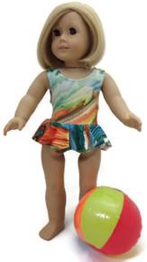 Ruffled Swimsuit & Beach Ball-Green/Orange Tie Dye