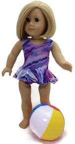 Ruffled Swimsuit & Beach Ball-Purple Tie Dye