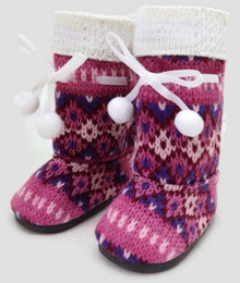 Knit Boots with Pom Poms by Sophia's-Pink Print
