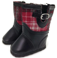 Plaid Boots-Black & Red