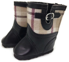 Plaid Boots-Black & Tan Plaid